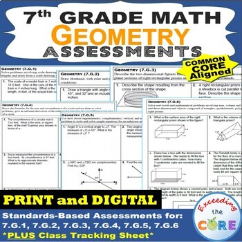 7th Grade GEOMETRY Assessments (7.G) Common Core