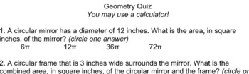 7th Grade Geometry Quiz