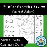 7th Grade Geometry Review - Breakout Activity - Common Cor