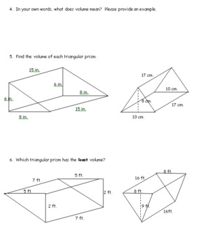 7th Grade Geometry: Volume and Surface Area of 3-D Objects Unit, 6 Lessons