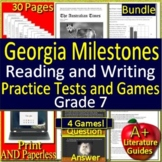 7th Grade Georgia Milestones Reading and Writing BUNDLE! Tests + Game Shows!