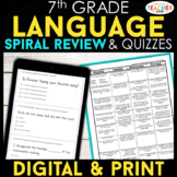 7th Grade Grade Language (Grammar) Spiral Review & Quizzes