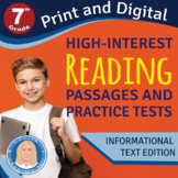 7th Grade High-Interest Informational Texts & PRACTICE TESTS Easy Print & Online