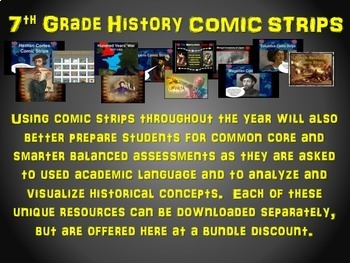 7th Grade History COMIC STRIPS Bundle: 12 engaging medieval history activities