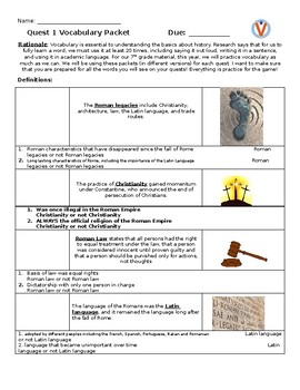 7th Grade History Unit 1 (Europe) Vocabulary Packet
