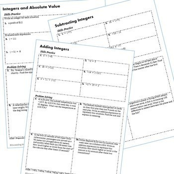 7th Grade Homework Math Worksheets - Skills Practice & Word Problems