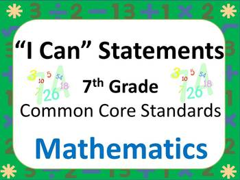 "7th Grade Common Core ""I Can"" Statements for Mathematics"