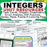 INTEGERS Task Cards, Error Analysis, Notes, Graphic Organizer, Puzzles BUNDLE