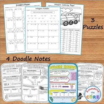INTEGERS Task Cards, Error Analysis, Notes, Graphic Organizer, Puzzles BUNDLE