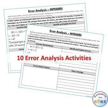 INTEGERS Word Problems -  Error Analysis  (Find the Error)