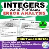 INTEGERS Word Problems -  Error Analysis  (Find the Error)