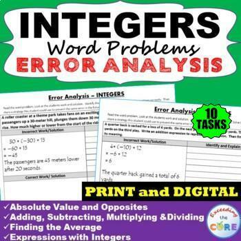 INTEGERS Word Problems -  Error Analysis / Find the Error (Print or Digital)