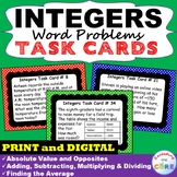 INTEGERS Word Problems Task Cards 40 Cards | GOOGLE | Distance Learning