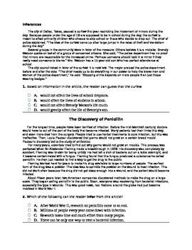 7th Grade Inferences Common Core Question Set