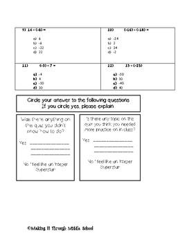 7th Grade: Integer Unit Quiz 1