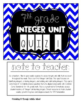 7th Grade: Integer Unit Quiz 1