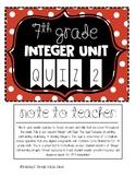 7th Grade: Integer Unit Quiz 2