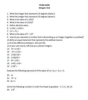 7th Grade Integers Test - Math Common Core