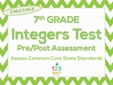 7th Grade Integers Test for Common Core (7.NS.1-7.NS.3)