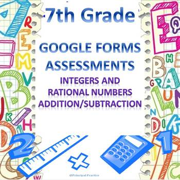 7th Grade Integers and Rational Numbers Add/Subtract Google Forms Assessment