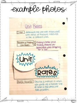 Seventh Grade Interactive Notebook Unit- Ratios and Proportional Reasoning