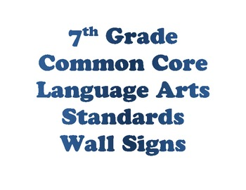 7th Grade Language Arts Common Core Standards Cards