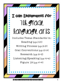 7th Grade Language Arts I Can Statements (Texas Standards, TEKS)