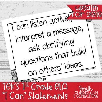 "Seventh Grade ELA TEKS ""I Can"" Statements"