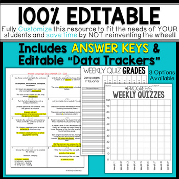 7th Grade Language Assessments | Weekly Grammar Quizzes for ENTIRE YEAR