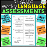7th Grade Language Assessments | Weekly Grammar Quizzes fo