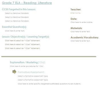 CCSS Lesson Plan Template - 7th Grade ELA Bundle