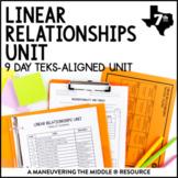 Linear Relationships Unit: 7th Grade Math TEKS 7.4A, 7.4C, 7.7A