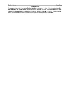 7th Grade Literary Analysis Essay - Graphic Organizer