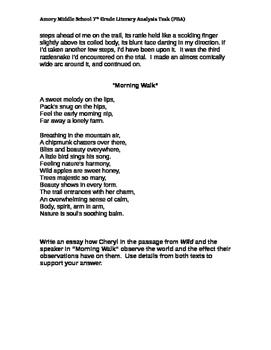 7th Grade Literary Analysis PARCC Practice