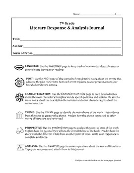 7th Grade Literary Response Journal