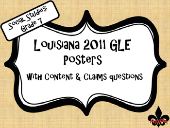 7th Grade Louisiana GLE Posters for Social Studies on Linen Background