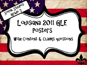 7th Grade Louisiana GLE Posters for Social Studies on USA Flag Background