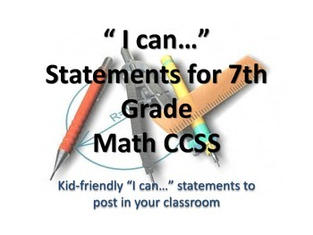 """7th Grade MATH CCSS """"I Can"""" Statements {Editable PowerPoint Included}"""
