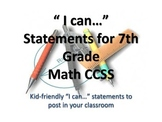 "7th Grade MATH CCSS ""I Can"" Statements {Editable PowerPoin"