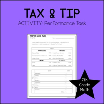 7th Grade Mat Tax & Tip Performance Task