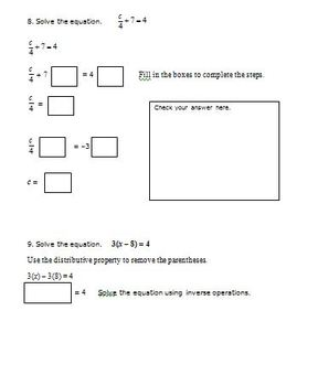 7th Grade Math 2-Step Equations and Inequalities (Prerequisite for 7.EE.4)