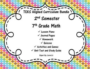 7th Grade Math - 2nd Semester - Curriculum Bundle - TEKS