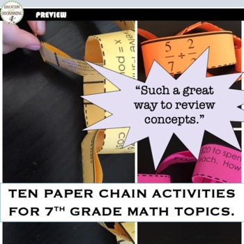 7th Grade Math Activity Paper Chains Bundled. Probability, Integers and more!