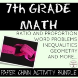 7th Grade Math Activity Paper Chains Bundle  Probability,