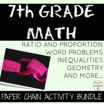 7th Grade Math Activity Paper Chains Bundled. Probability,