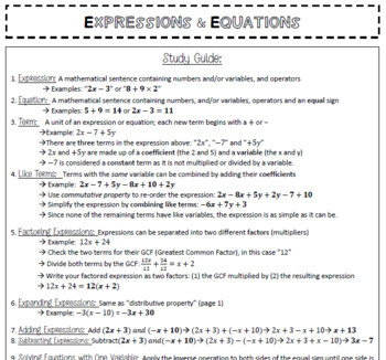 7th Grade Math All-Year Review Packet: Study Guide & Test Practice End of Grade