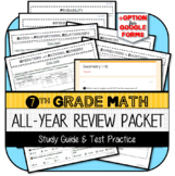 7th Grade Math All-Year Review Packet: Study Guide & Test