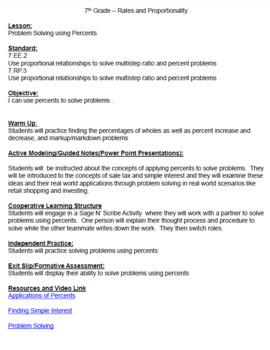 7th Grade Math – Application of Percents