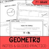 7th Grade Math Area, Volume, & Angle Relationships Notes & Guided Practice