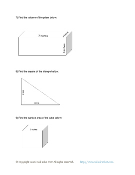 7th Grade Math: Area and Volume of 2D and 3D shapes 7.G.B.6